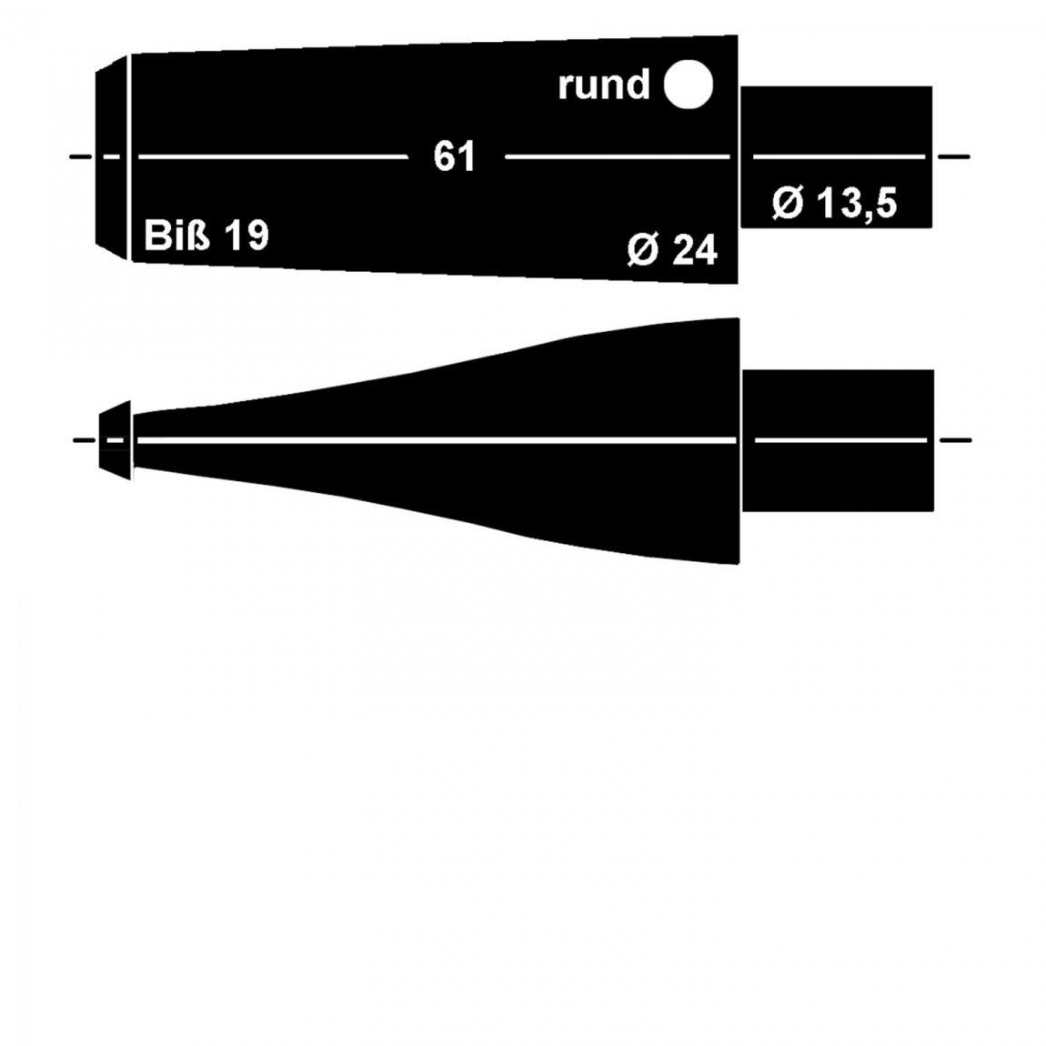Mundstück aus Ebonit Nr. 1/2 Fishtail rund, vorgedreht 9mm Filter