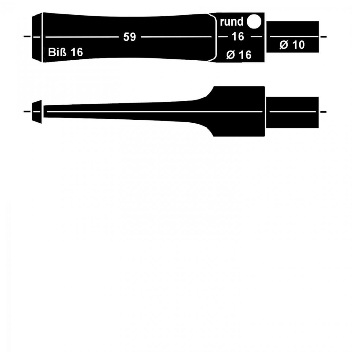 Mundstück aus Ebonit Nr. 18 Sattel rund, vorgedreht ohne Filter