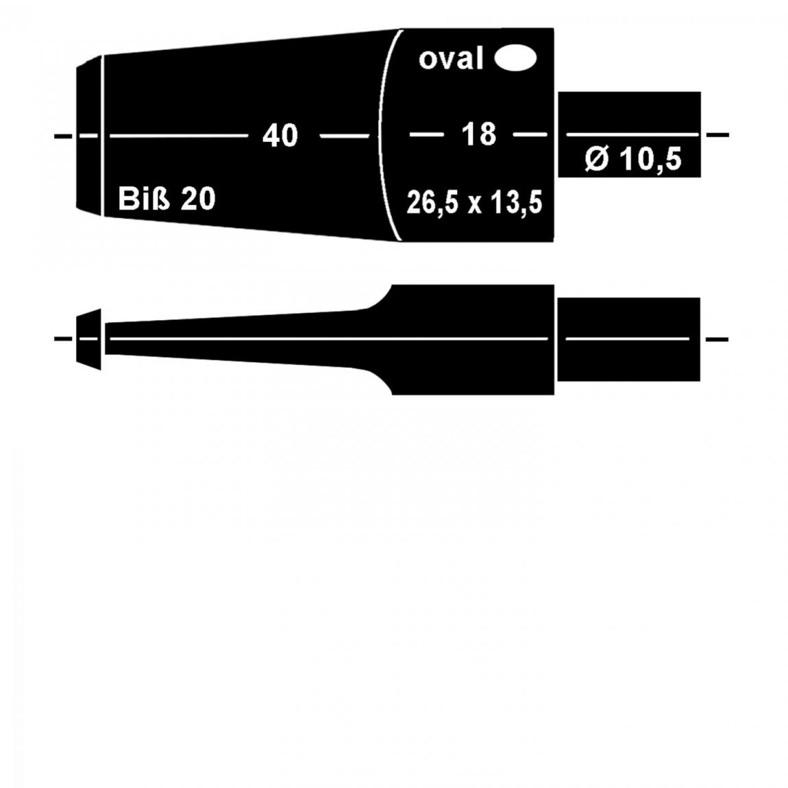 Mundstück aus Ebonit Nr. 23 Sattel oval, unbearbeitet