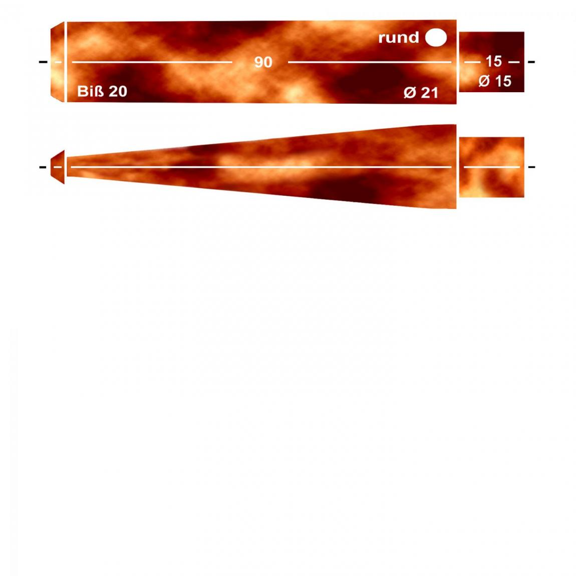 Mundstück aus Acryl Nr. B4 Fishtail rund, Cognac bernsteinfarben, vorgedreht ohne Filter