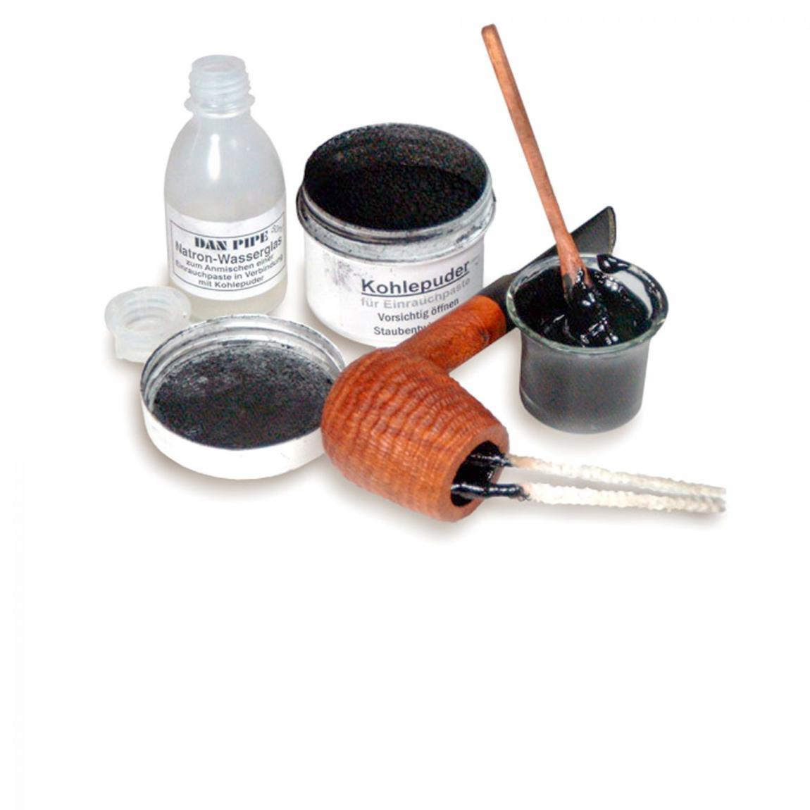 Einrauchpaste, Akivkohle-Pulver und Wasserglas-Natron