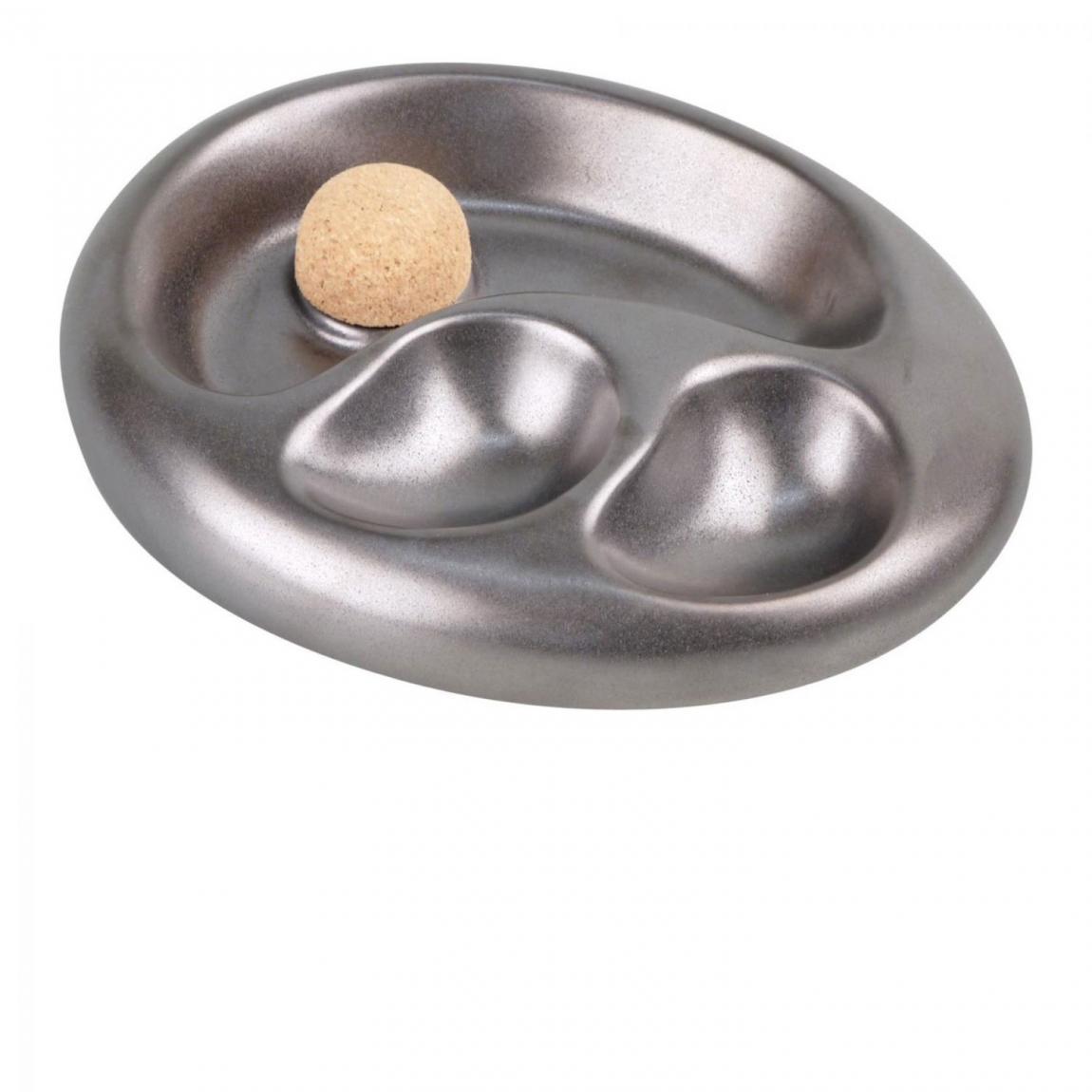 Pfeifenascher mit mattsilbern glasierter Keramik, oval