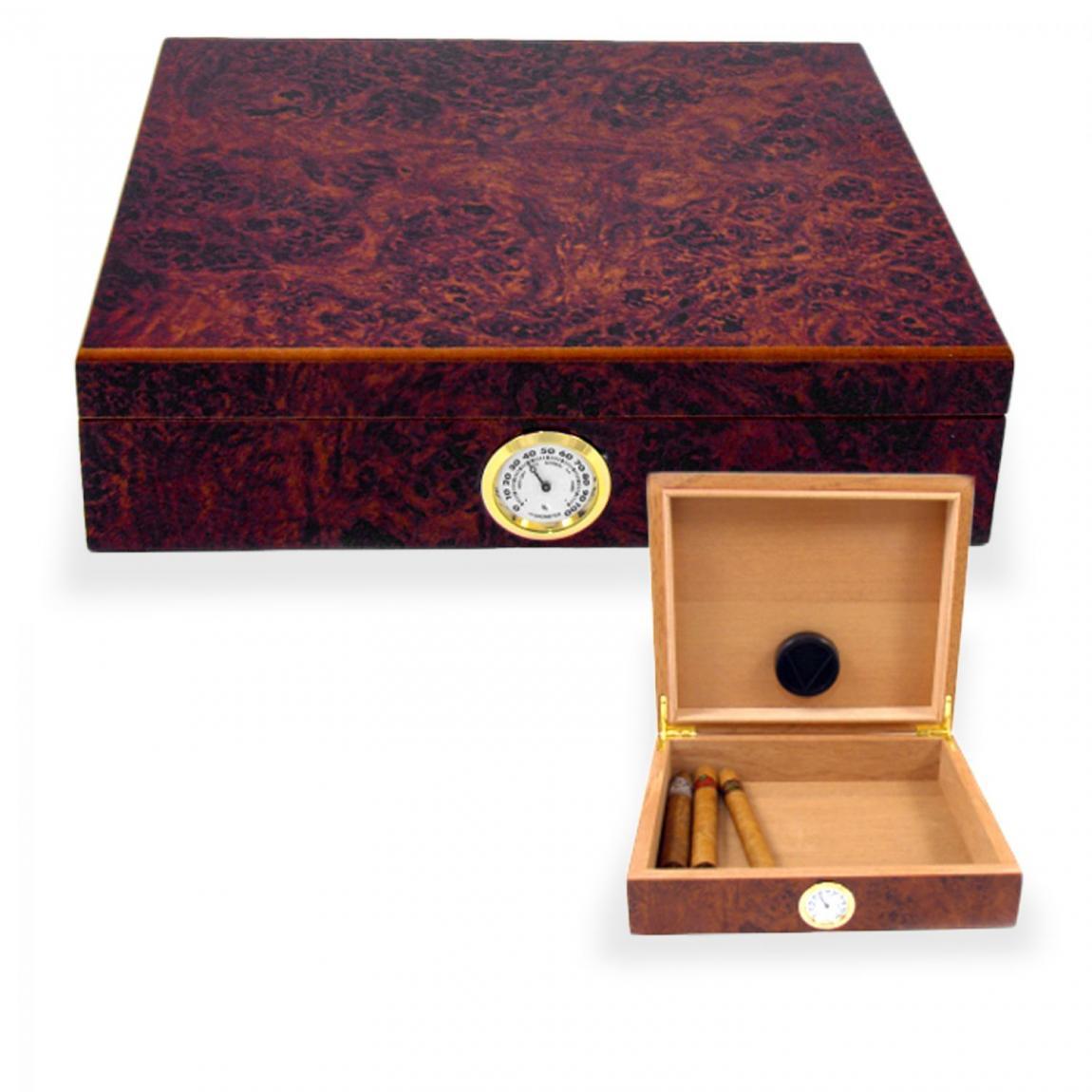 Kleiner Humidor mit Wurzelholz-Dekor - für ca. 20 Zigarren