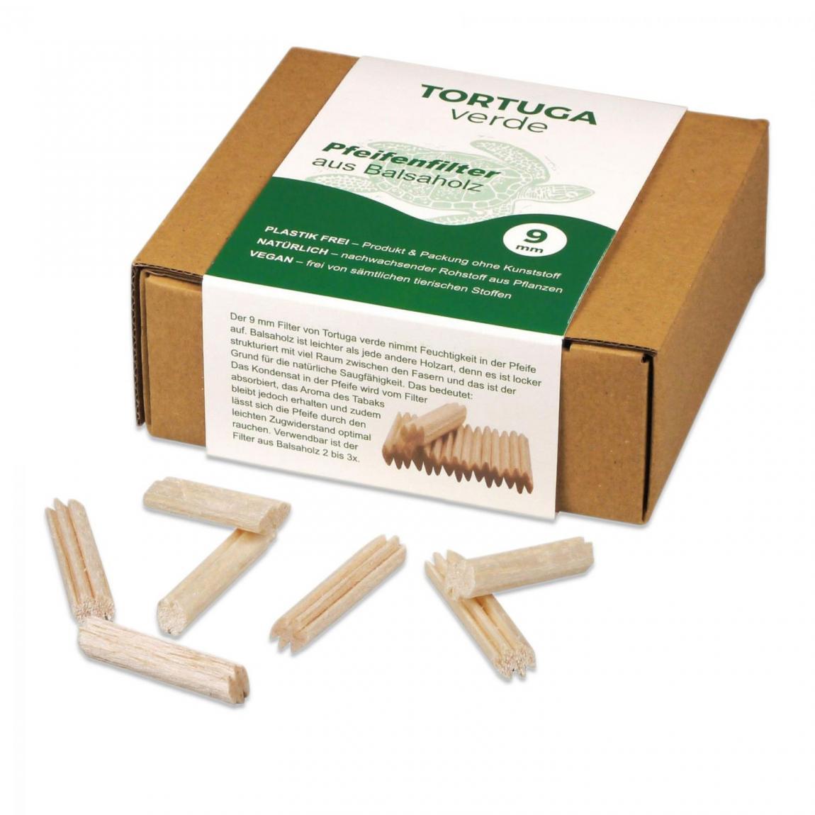 »Tortuga verde« Balsaholz-Filter 9mm, 110er Box