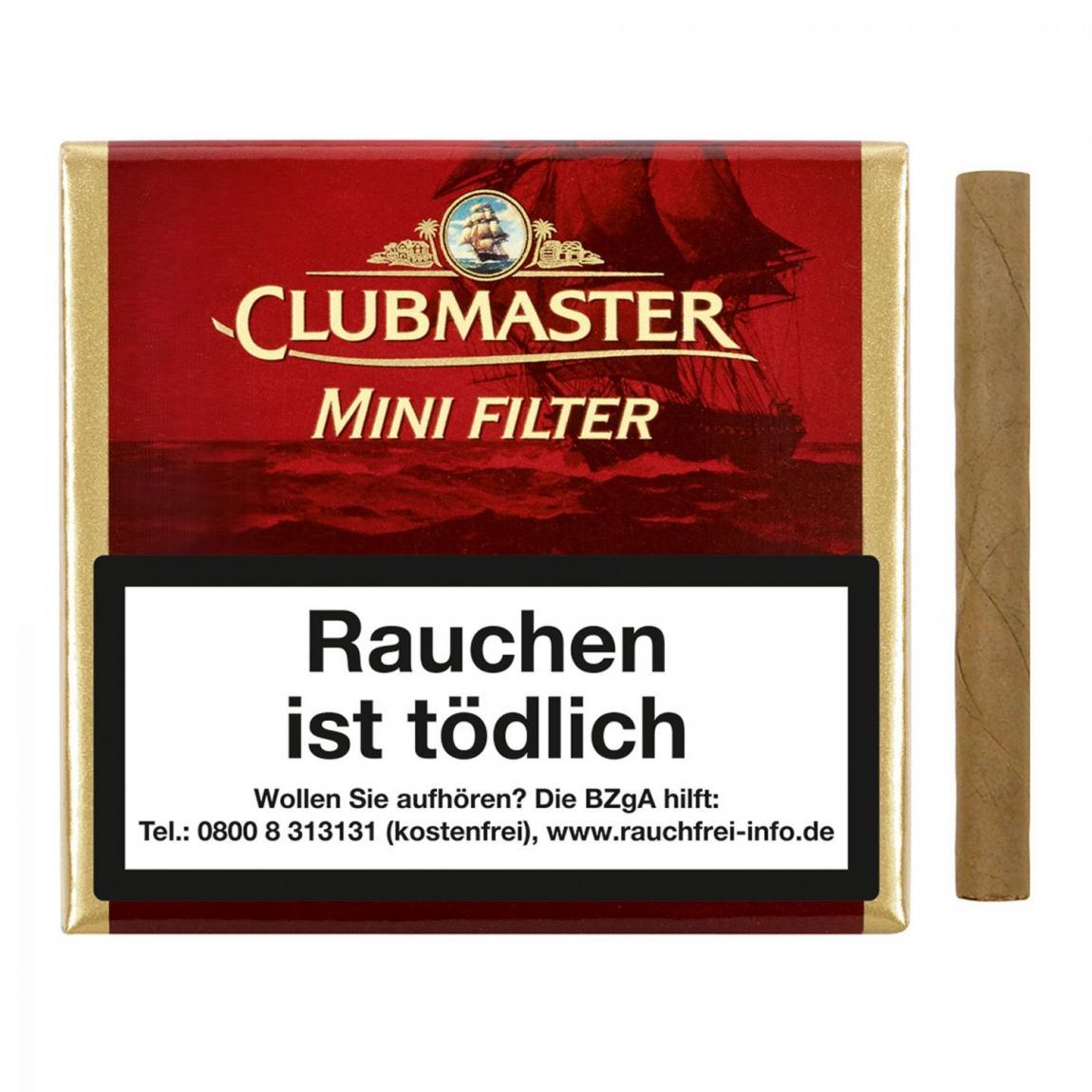 Clubmaster Mini Filter Red No. 222, 20er Kartonbox